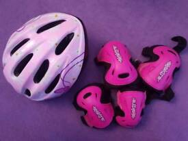 Girls helmet and pads pink