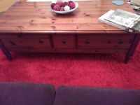 DUCAL , LARGE DARK PINE COFFEE TABLE, WITH EASY GLIDE DRAWERS FOR STORAGE, OF REMOTES, MAGS, ECT