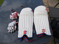 Boys size Cricket pads and gloves.