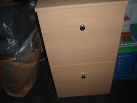 Two-drawer beech filing cabinet For Sale