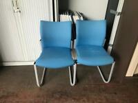 Powder Blue Canter Leaver Chairs - Grey Legs