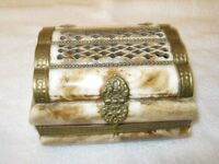 Vintage ornate treasure box made of camel bone with brass clasp and hinges