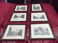 6 Vintage ? Antique Dark Mahogany Framed Prints Of Heywood Lancashire Early 1900's