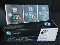 Brand New & Unopened HP 305X Black + HP 305A 3-pack Cyan/Magenta/Yellow Toner Cartridge