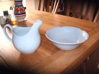 Ceramic Blue Bowl and Matching Jug.