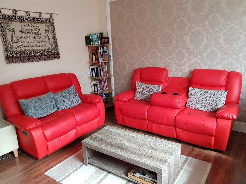 3 2 Seater Red Leather Sofas With Recliner Cup Holders