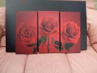 Red Rose Pictures on Canvas Wall Art Delivery Available £5