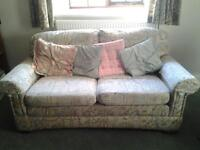 3 seater sofa in light blue print
