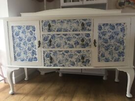 Beautiful vintage, shabby chic/country floral upcycled sideboard.