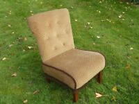 Vintage stylish Bedroom Low Plush Golden/Brown Chair with fringe