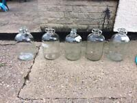 Glass demijohns x 5