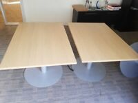 Rectangular office/meeting table w/ circular chrome stand and legs (2 available) £105 each