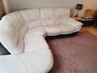 Large, 5 seater, real leather corner sofa