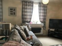 2 Sets of these lined grey check curtains with 2x curtain pole included