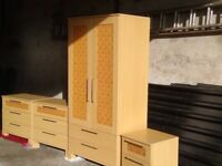 2 Chest of drawers, Double Wardrobe and Bedside Cabinet. Bedroom Furniture