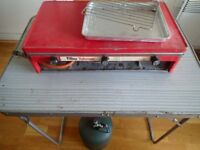 Camping gas stove and cylinder with table