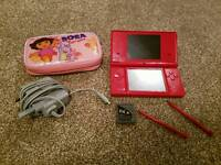 As new red Nintendo DSi with case and R4i card. Play any game for free!