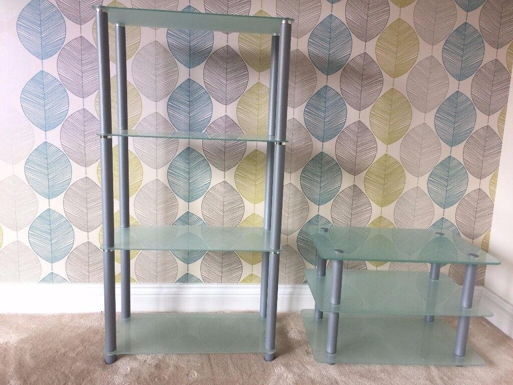 Matching Glass Shelving Set of Display Units. 3 Tier and 2 Tier. Both in EXCELLENT condition!