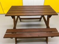 115w x 125d x 75cm - GARDEN WOODEN PICNIC TABLE WITH BENCHES -