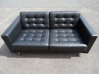 RRP: £595 IKEA LANDSKRONA TWO SEATER STYLISH BLACK LEATHER SOFA (I CAN DELIVER TODAY)
