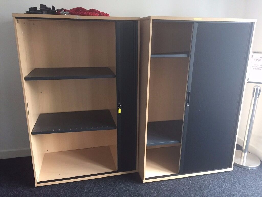 Large Lockable Office Cupboards With Concertina Doors