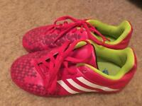 Kids pink and white Adidas Astro turf trainers size 2