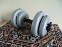 """YORK"" DUMBELL, 35 CMS BAR AND FOUR WEIGHTS (6.5 KGS APPROX)"