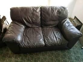 Brown Italian Leather Sofas & Pouffe