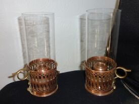 2 Antique Copper Chamber Stick Candle Holders