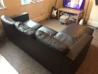 Leather-look L-shaped corner sofa for sale. Collection only