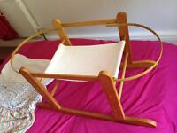 Baby Moses Basket & rocking stand.