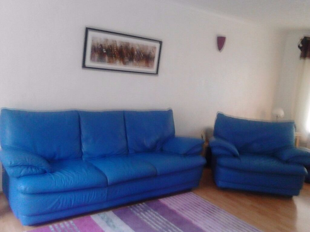 Leather Sofa and Chair - Blue 3 Seater Settee and single chair Italian Leather