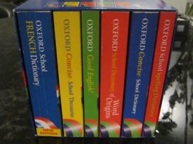 Boxed Set of 6 Oxford School Reference Books ( Dictionary x 4 / Thesaurus / Grammar Guide)