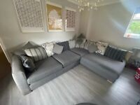 DFS Grey, cushion back, left hand corner sofa with large round pouffe