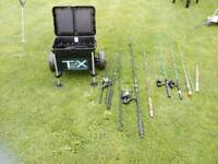 Fishing seat box, rods, reels etc. Etc....