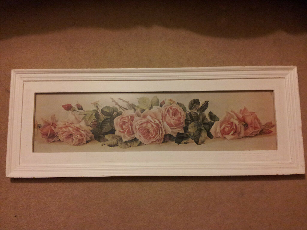 shabby chic rose white framed painting £15