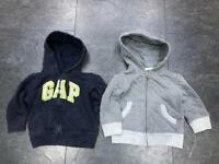 2 GAP boys full zip hoodies 12-18 months