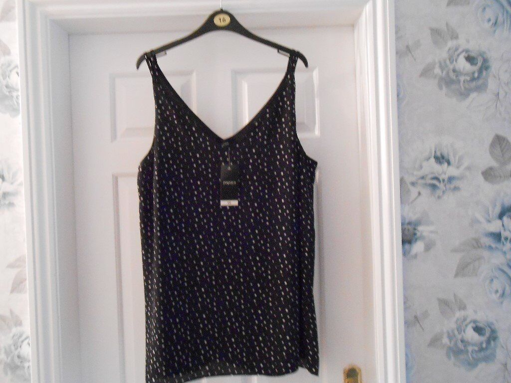 Ladies Top - size 16 - black & white spotted - BRAND NEW WITH TAGS