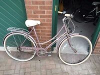 Very comfy ladies vintage city bike, lilac, £95 including rear pannier rack, bell and lights