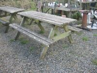 BROWN GARDEN PICNIC BENCH. SITS 8. (4 AVAILABLE).VIEWING/DELIVERY AVAILABLE