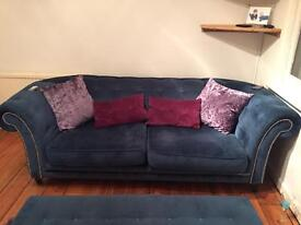 Chelsea blue suede sofa, armchair and footstool