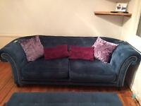 Chelsea blue suede sofa and footstool
