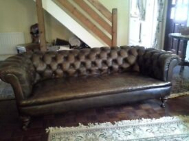 Antique Brown Leather Chesterfield in very good condition.