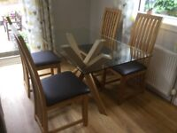 Oak and glass dining table and 4 chairs