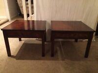 2 x Honey Maple Veneered Matching Side Tables - 60cm w x 60cm d x 46cm h