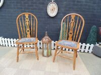 2 SOLID PINE FARMHOUSE HIGH BACK CHAIRS VERY SOLID CHAIRS AND IN EXCELLENT CONDITION