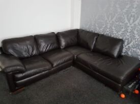 Genuine Italian leather corner sofa with armchair and pouffe