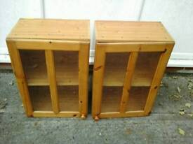 Pair of nice pine wall mounted cabinets with a shelf