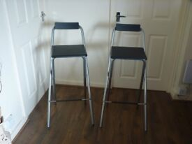 TWO FOLDABLE BAR STOOLS - VERY GOOD CONDITION - HARDLY USED