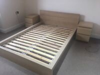 White oak effect bed & drawers